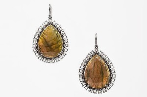 Irene Neuwirth K Green Labradorite Pave Diamond Teardrop Earrings