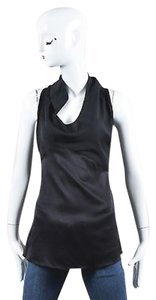 Narciso Rodriguez Asymmetric Drape Neckline Sleeveless Top Black