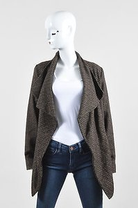 Yigal Azrouël Wool Blend Belted Shawl Brown Jacket
