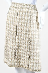 Chanel 08p Taupe White Silk Woven Houndstooth A Line Skirt Multi-Color