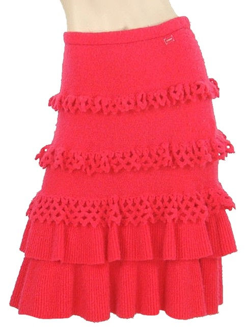 Chanel Tiered Wool Crochet Nylon Knit Skirt Red, Hot Pink