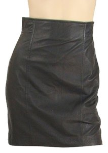 Charlotte Ronson Leather Mini Mini Skirt Black