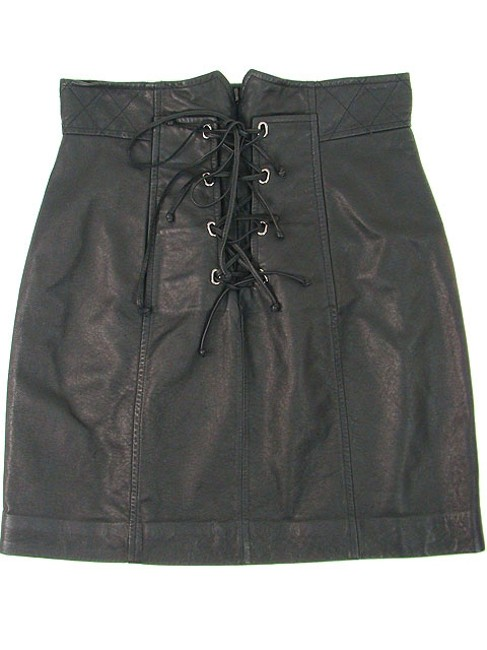 Charlotte Ronson Leather Corset Mini Mini Skirt Black