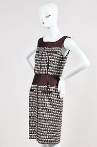 Oscar de la Renta 2011 White Black Tweed Silk Blend Sleeveless Dress