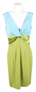 Other Kevan Hall Green Blue Two Toned Knotted Detail Silk Sheath Dress