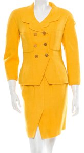 Chanel Yellow Chanel tweed skirt jacket suit set New S Small 4 36