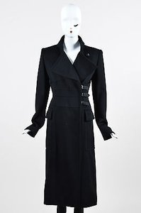 Saint Laurent Yves Rive Gauche Wool Double Breast Buckle Trench Coat