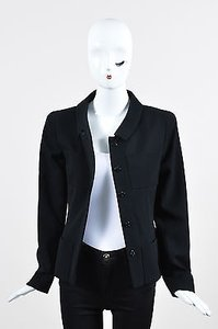 Chanel 01p Wool Button Up Tailored Long Sleeve Black Jacket