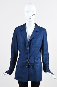Karl Lagerfeld Vintage Karl Lagerfeld Navy Button Up Belted Long Sleeve Jacket Blazer