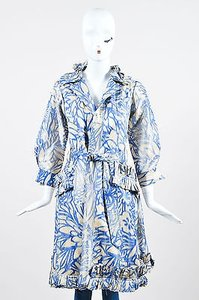 Oscar de la Renta Cream Floral Patterned Gathered Ruffle Trench Coat