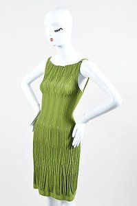 ALAÏA Alaia Olive Irregular Ribbed Stretch Knit Sl Dress