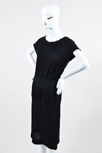 Chanel short dress Black 08a Knit Textured Cap Sleeve on Tradesy