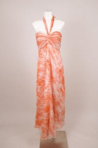 Maxi Dress by Monique Lhuillier Orangewhite Silk Chiffon Halter Maxi