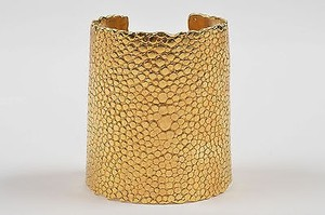 Saint Laurent Yves Saint Laurent Gold Tone Textured Stingray Cuff Bracelet