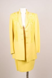 Louis Feraud Vintage Louis Feraud Yellow Embroidered Jacket Pencil Skirt Suit Set