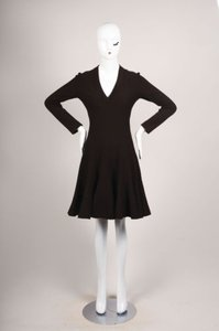 ALAÏA short dress Brown Alaia Wool Blend Long Sleeve Flounce Sweater on Tradesy