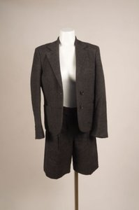 Chlo Chloe Charcoal Gray Tweed Wool Short Pant Suit 3840