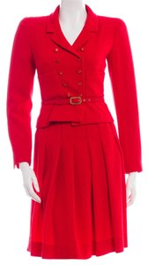 Chanel Red Chanel wool skirt jacket belted suit set New S Small 4 36