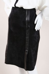 Herms Hermes Black Suede Lambskin Skirt