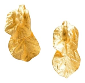 Vintage Goldtone Linked Layered Textured Leaves Clip On Earrings