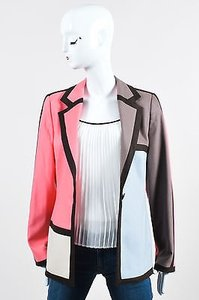 Louis Feraud Feraud Brown Pink Cream Blue Wool Geometric Color Block Ls Blazer Jacket
