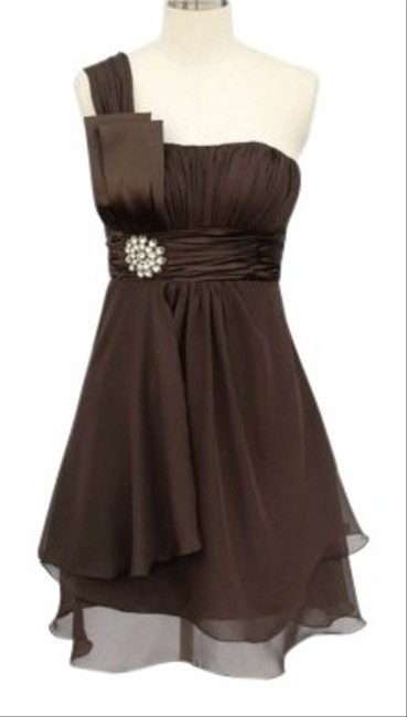 Preload https://item5.tradesy.com/images/brown-chocolate-one-shoulder-chiffon-w-rhinestones-ornament-sizesmall-knee-length-formal-dress-size--109594-0-0.jpg?width=400&height=650