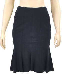 Donna Karan Trumpet Wool Skirt Black