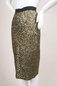 By Malene Birger Gold Tone Black Sequin Embellished Helic Skirt