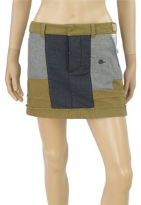 DSquared Mini Wool Tweed Khaki Mini Skirt Khaki, Blue, Olive