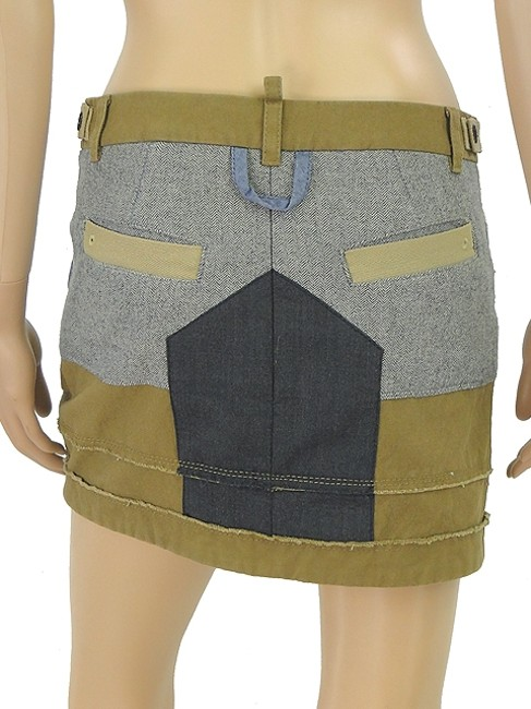 DSquared Mini Wool Tweed Mini Skirt Khaki, Blue, Olive