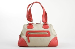 Miu Miu Tan Khaki Red Cotton Satchel in Multi-Color
