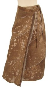 Fendi Fur Drape Draped Suede Leather Cowboy Maxi Skirt Brown, Rust, Tanned, Caramel