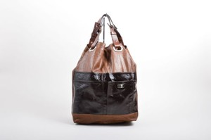 Marni Leather Patent Tote in Brown