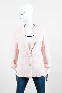 Chanel 00t White Boucle Pink Jacket
