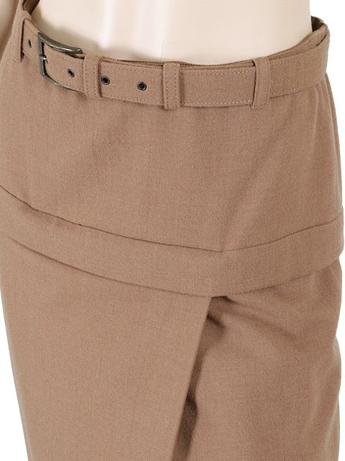 Jean-Paul Gaultier Wool Belted Pencil Skirt Brown