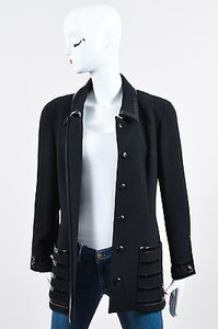 Chanel Vintage Wool Patent Leather Trim Button Long Tailored Black Jacket