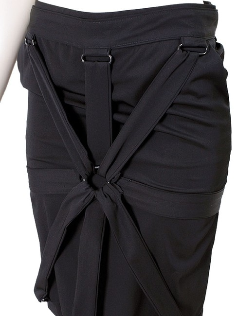 Jean-Paul Gaultier Wool Belted Pencil Skirt Black