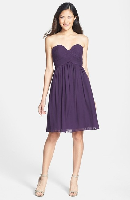 Item - Amethyst Chiffon Strapless Silk Formal Bridesmaid/Mob Dress Size 6 (S)