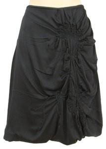 Jean-Paul Gaultier Satin Sateen Silk A-line Chiffon Embroidered Applique Skirt Black