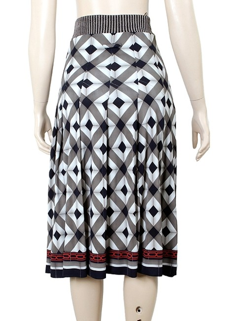Jean-Paul Gaultier Checkered Chevron Print Pleated A-line Skirt Black, White, Red, Grey