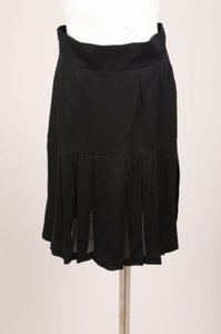 Chanel Boutique Silk Pleated Drop Waist Skirt Black
