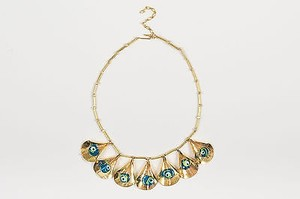 Gold Tone Blue Evil Eye Glass Beaded Teardrop Link Bib Choker Necklace