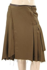 Jean-Paul Gaultier Silk Pleated Drape Draped Leather Tie Skirt Brown