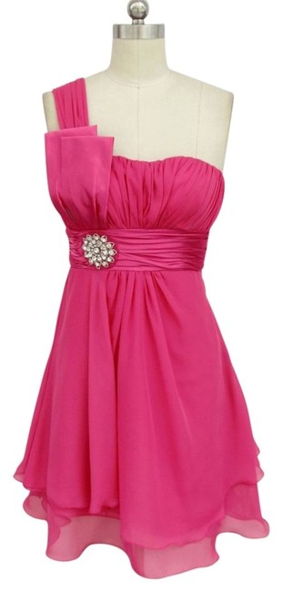 Preload https://item3.tradesy.com/images/pink-one-shoulder-chiffon-w-rhinestones-ornament-sizelarge-knee-length-formal-dress-size-12-l-109602-0-0.jpg?width=400&height=650