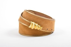 Donna Karan Donna Karan Tan Gold Suede Metallic Trim Wave Buckle Belt