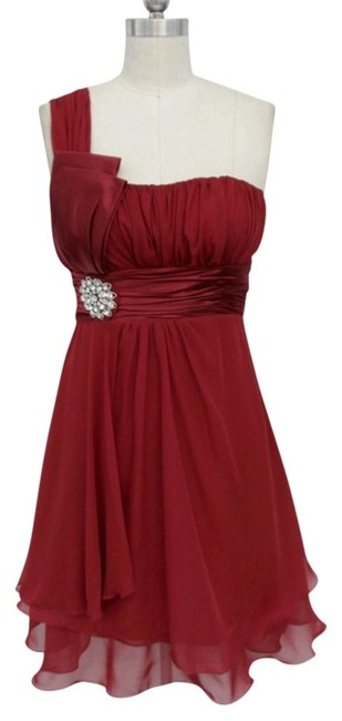 Red One Shoulder Chiffon W/ Rhinestones Ornament Knee Length Formal Dress Size 12 (L) Red One Shoulder Chiffon W/ Rhinestones Ornament Knee Length Formal Dress Size 12 (L) Image 1