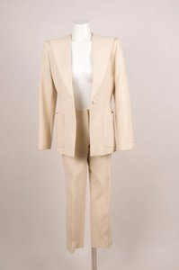 Chanel Chanel Tan White Textured Pinstripe Pearl Button Jacket Pants Suit Set