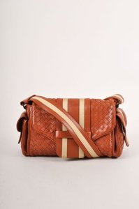 Bottega Veneta Browntan Basketwoven Stripe Trim Leather Flap Shoulder Bag