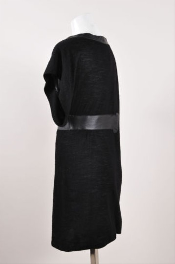 80%OFF Yigal Azrouël Yigal Azrouel Black Wool Knit Leather Detail Shirt Dress