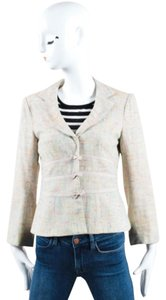 Nanette Lepore Multicolor Woven Tweed Knit Long Sleeve Blazer Pink Jacket